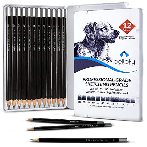 Bellofy Drawing Pencils For Artists | Art Pencils For Drawing And Shading | 9B-H Sketching Pencils | Graphite Pencils for Artists | Shading Pencils For Drawing | Artist Pencil Set Sketching Supplies