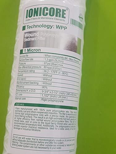 IONICORE Polypropylen-Kartusche umwickelt 9-3/4 Zoll – 1 Mikron Ersatz für Osmose-Umkehranlage mit Glas
