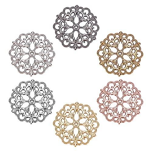 PandaHall 6 colores 60 piezas de flores de filigrana conector tibetano colgantes redondos de filigrana adornos de metal para hacer collares y joyas, 29 mm