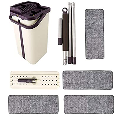 Self Cleaning Flat Mop Bucket Sets Hand-Free Squeegee Mop and Bucket Mop Pads Dust Wizard Mop, Mops and Bucket Sets Home Household 360° Rotatable Floor Cleaning Tools Removable Wet and Dry Mop