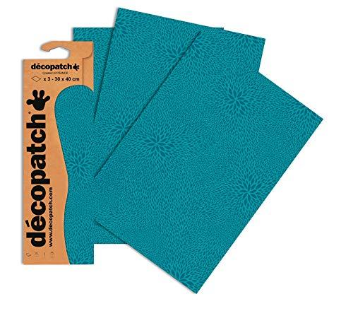 Decopatch Papier No. 651 (türkis Farbsprenkel, 395 x 298 mm) 3er Pack