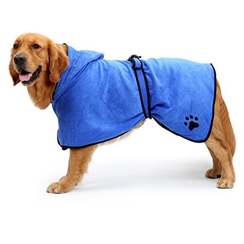 NACOCO Dog Bathrobe Towel Microfiber Pet Drying Moisture Absorbing Towels Coat for Dog and Cat (XL, Blue)