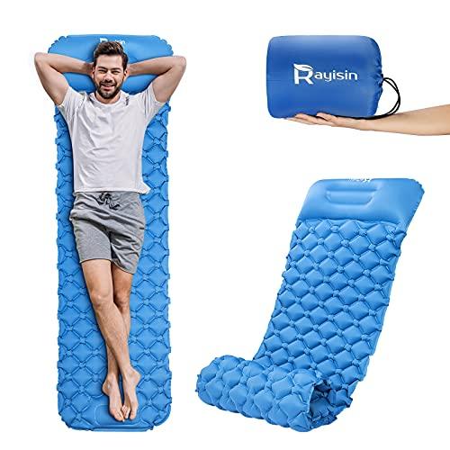 Rayisin Isomatte Camping Luftmatratze aufblasbare Schlafmatte Ultraleichte Matratze Feuchtigkeitsbeständig Strandmatte langlebige Campingmatratze für Wandern, Backpacking, Strand