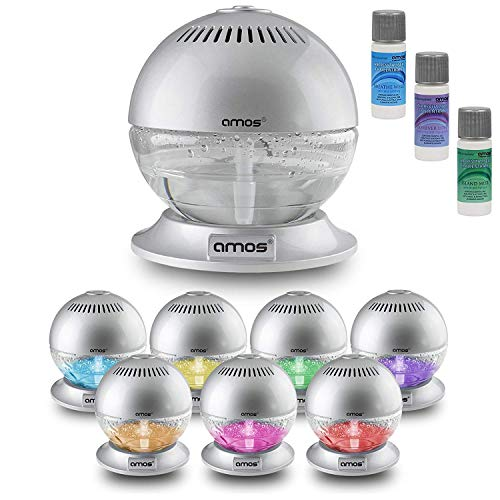 AMOS Globe Air Revitaliser with Base Fresh Air Purifier Freshener Cleaner Ioniser with Colour Changing LED Light & 3 x 10ml Fragrances Essence Aroma (Silver)