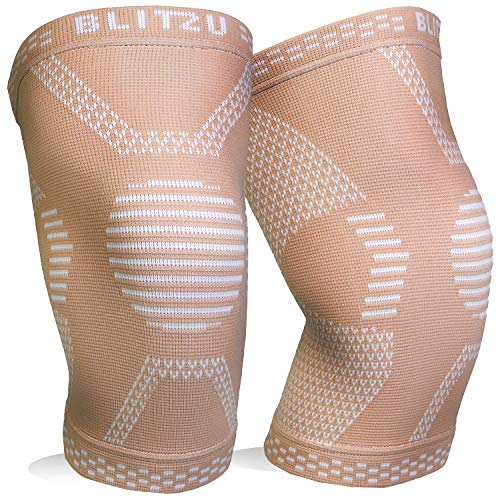 BLITZU Knee Compression Sleeve for Men & Women – Best Knee Brace Support for Running, Gym, Workout, Fitness, Weightlifting. Joint Pain Relief, Arthritis, ACL, Meniscus Tear and Injury Recovery