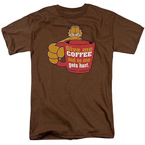 Garfield - Geben Sie mir Kaffee - Adult Khaki Kurzarm T-Shirt für Männer, XX-Large, Coffee