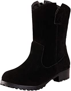 Women's Casual Ankle Booties Cut Out Slip On Low Heel Short Boots Winter Flock Boots Flat Vintage Roman Shoes