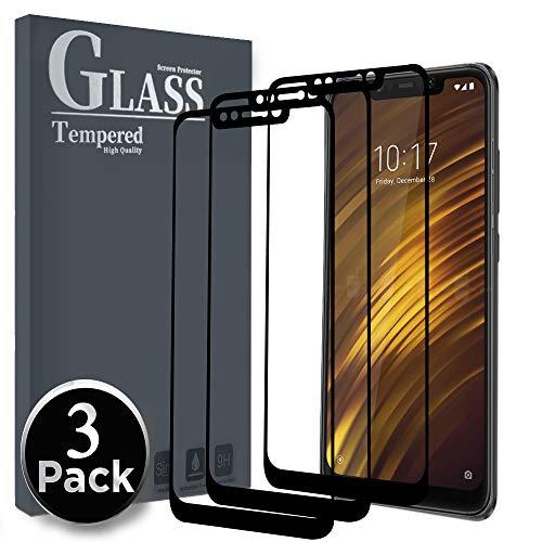 Ferilinso Panzerglas Schutzfolie für Xiaomi Pocophone F1, [3 Stück] [Full Coverage] [Full Adhesive Glue] [Selbstabsorption] Friendly Blasenfrei gehärtetes Glas (Schwarz)