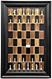 Straight Up Chess Polished Gold and Silver Pieces on Black Walnut Board with Wide Frame