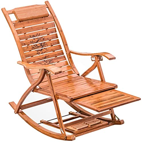 CDFC Sillón reclinable Silla Plegable Patio césped Piscina Silla Regulable bambú mecedor Mecedora Silla de Cubierta con reposapiés y reposabrazos