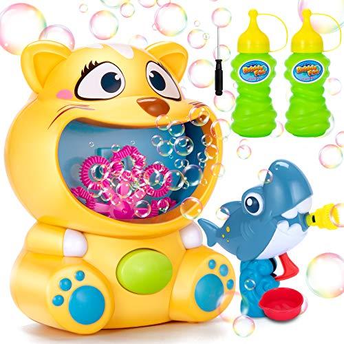 Ucradle Maquina Burbujas Niños con 2 Botellas 118ml de Burbujas Pistola de Burbujas de Tiburón Maquina Pompas Jabon Automática Juguetes de Fiesta Cumpleaños Juegos de Jardín Interior Al Aire Libre