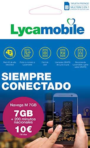Lycamobile Tarjeta Prepago Multi SIM - Plan Nacional NAVEGA M , Incluye 7 GB de Datos + 200 Minutos en Llamadas , 30 Días