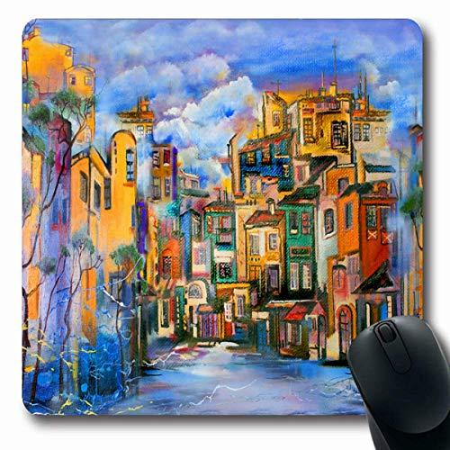Mousepads Oranje Abstract bewolkt hof schilderij kunst modern canvas stad olieontwerp langwerpige vorm anti-slip gaming muismat rubber langwerpige mat, rubberen mat 11,8