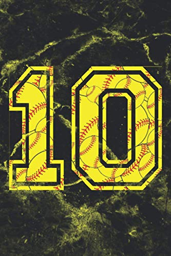 10 Journal: A Softball Jersey Number #10 Ten Notebook For Writing And Notes: For All Players, Coaches, Fans: Marble Yellow Red Ball Print