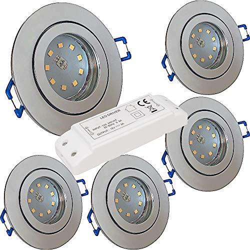 LED Bad Einbaustrahler 12V inkl. 5 x 5W SMD LM Farbe Chrom IP44 LED Einbauleuchten Aqua Rund 3000K mit Trafo