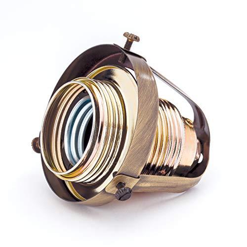 Glashalter aus Messing Vintage mit Fassung E27 Schraubring Retro Kaschierung (Antikmessing)