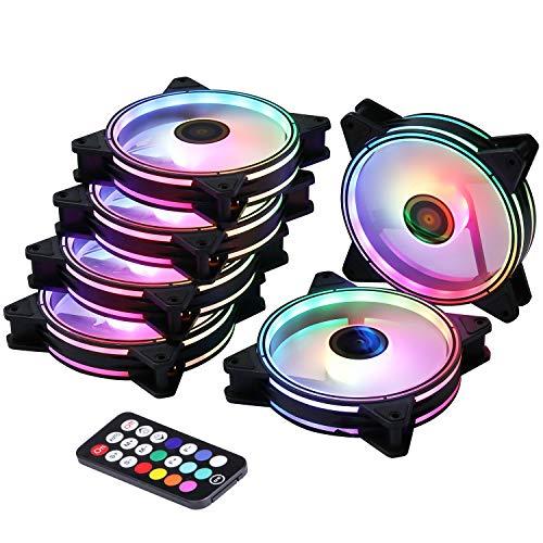 Ubanner DS Rainbow RGB LED 120 MM Case Fan per PC Case Raffreddatori CPU, Radiatori Sistema,LED Fans (6 Pack RGB ventole Kit, Serie B)