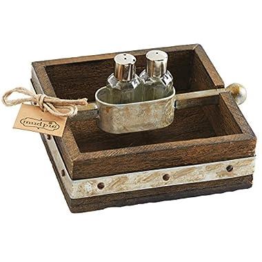 Mud Pie Bistro Napkin Holder/Salt & Pepper Set, Brown