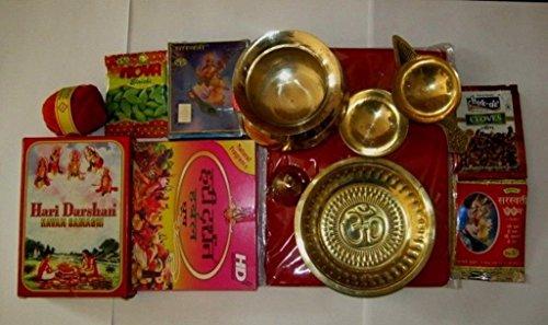 Artcollectibles India Set de puja hindú Pooja Havan Samagri latón religiosa placa cuenco Diya Roli Moli
