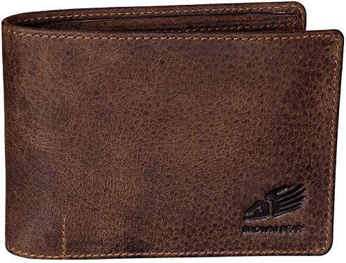 Brown Bear Geldbörse Herren Leder Braun Vintage Quer-Format RFID Schutz Blocker...