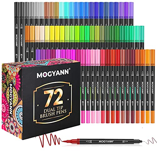Mogyann 72 Colors Art Markers for Adult Coloring Dual Tip Brush Pens 0.4mm Fine Liners and 1-2mm Brush Tip Watercolor Pen Set for Coloring Books, Drawing, Note Taking
