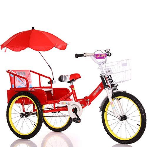 TWW Bicicleta Triciclo para Niños con Cubo 2-10 Años Gemelos Bebé Plegable Niños con Personas Triciclo Triciclo para Niños,Red 16 Inches