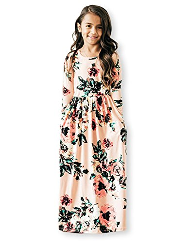 21KIDS Girls Floral Flared Pocket Maxi Three-Quarter Sleeves Holiday Long Dress,Pink,8 Years
