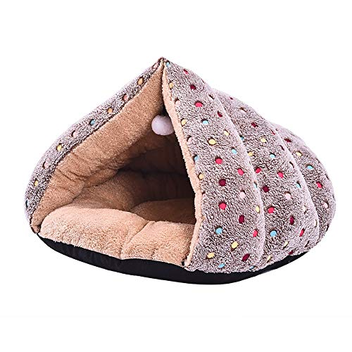 KDOAE Casa de la Tienda de la Casa Punto Mullido Triángulo de Arena for Gatos Gato del Invierno Caliente de la litera Cama Triángulo Mascotas para Perros Gatitos (Color : Brown, Size : 57x50x45cm)