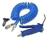 Set de aire a presión, azul, 3piezas, con 5m manguera en espiral, pistola de aire comprimido, pieza en T, acople rápido, para camión, coche, barco