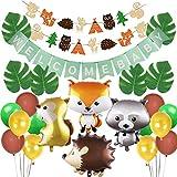 Jollyboom Babyland Baby Shower Decoraciones Animales del Bosque Baby Shower Suministros de género Neutro con Globos de Bosque Garland Welcome Baby Banner