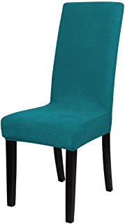 uxcell Knit Spandex Stretch Fit Dining Room Chair Cover Slipcover, Removable Washable Dining Banquet Chair Protector for Home Party Hotel Wedding Ceremony, Teal Blue