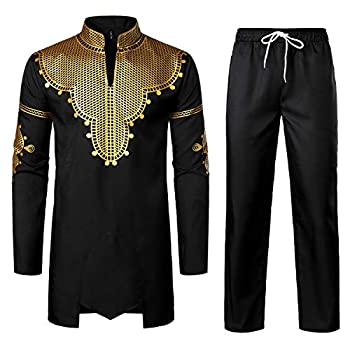 LucMatton Men s African 2 Piece Set Long Sleeve Gold Print Dashiki and Pants Outfit Traditional Suit Black Gold Large