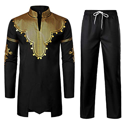 LucMatton Men's African 2 Piece Set Long Sleeve Gold Print Dashiki and Pants Outfit Traditional Suit Black Gold Large
