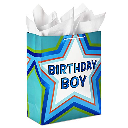 """Hallmark 15"""" Extra Large Birthday Gift Bag with Tissue Paper (""""Birthday Boy"""" Green and Blue Star)"""