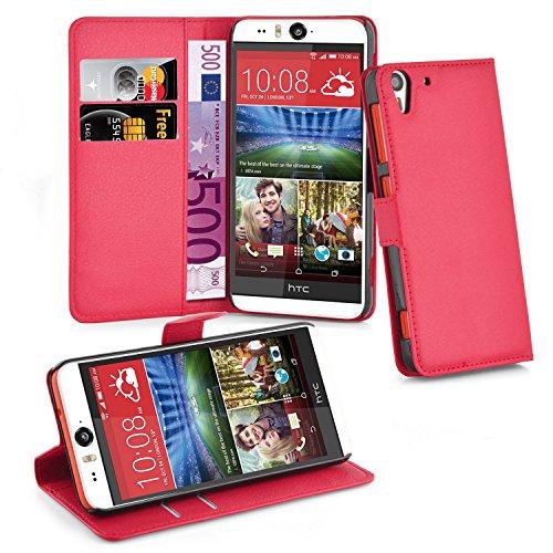 Cadorabo Hülle für HTC Desire Eye - Hülle in Karmin ROT – Handyhülle mit Kartenfach und Standfunktion - Case Cover Schutzhülle Etui Tasche Book Klapp Style