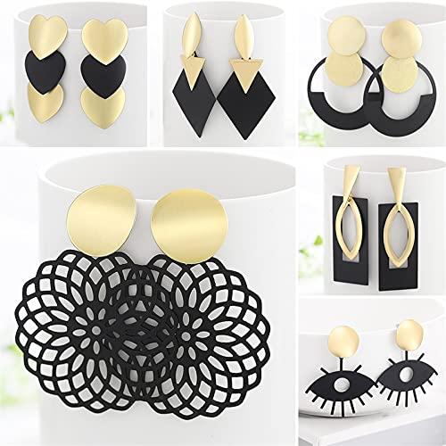 DALIANMAO Pendientes Estilo de Verano Pendientes de Gota de Oro para Mujer Geomatric Negro Pendiente Largo Colgante Triángulo Joyas de joyería Bijouterie (Metal Color : 54)
