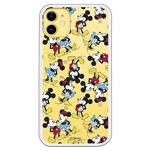 Funda para iPhone 11 Oficial de Clásicos Disney Mickey y Minnie Siluetas Transparente para Proteger tu móvil. Carcasa para Apple de Silicona Flexible con Licencia Oficial de Disney.