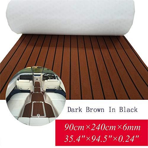 Toogou Alfombrilla antideslizante de espuma EVA para suelos marinos con adhesivo 3M, cubierta de teca sintética para barcos, kayak (marrón oscuro)