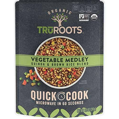 truRoots Organic Quick Cook Vegetable Medley, Quinoa and Brown Rice Blend, 8.5 Ounce (Pack of 8)
