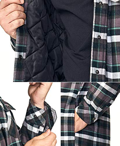 CQR Men's Hooded Quilted Lined Flannel Shirt Jacket, Long Sleeve Plaid Button Up Jackets, Quilted Lined(hok720) - Charcoal Plaid, XL