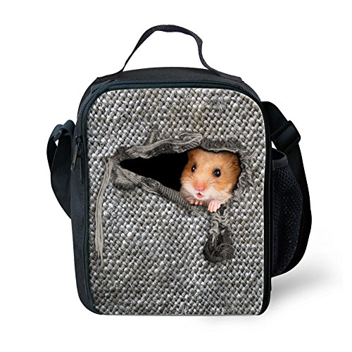 Nopersonality Kids Lunch Boxes for Boys Girls Childrens Packed Lunch Bags Cute Hamster Insulated Food Picnic Container Teenager - Grey
