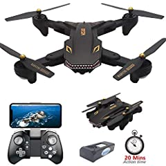 FOLDING SHARK DESIGN DRONE:This visuo xs809s drone has the cool shark shape, the drone is designed to be portable, and the quadcopter features a foldable arm design, this drone is easy to carry drones without any trouble. HD 720P CAMERA WIFI FPV DRON...