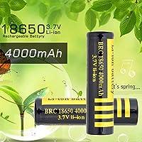 18650充電式リチウム電池3.7V 4000mAhのための大容量電池のための大容量電池のための非常容量の電子機器など(黄+ブラック)-8個
