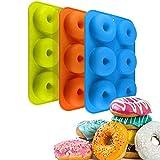JPYH Moldes de Silicona para Donuts, 3 Pcs 6 Cavidades Molde para Pasteles Antiadherente Molde de Silicona, Molde para Hornear para Pasteles, Magdalenas, Galletas, Bagels