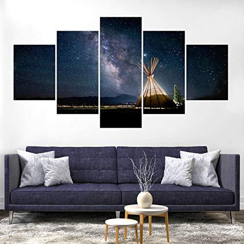 Yftnipl 5 Cuadros En Lienzo Modernos Astronomía De Estrellas Del Cielo Hd Arte De La Pared Impresa Moderno Decoración Dormitorio El Hogar Pintura De La Lona Foto Regalo Listo Para Colgar