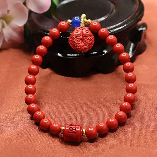 Pulsera de cinabrio Piscis, arena roja, seis palabras, proverbios, pulsera de cuentas redondas, joyería Wenwan