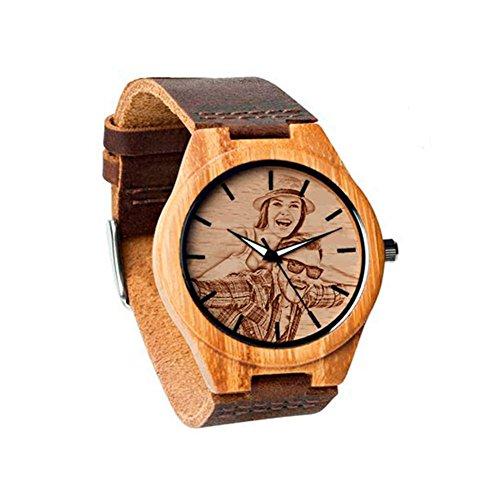 Relojes Personalizados con Foto Relojes de Pulsera del Presente del día del Padre Agregue Cualquier Foto y Grabe Cualquier Texto