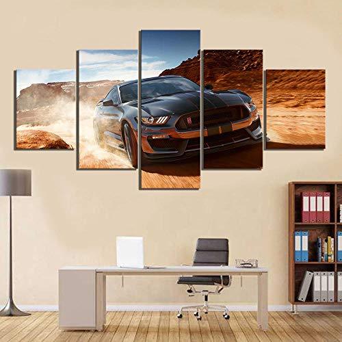 Lv5Panel Leinwanddrucke 5 Stück Hd Auto Bilder Ford Mustang Auto Poster Landschaft Wandkunst, Leinwand Gemälde Für Wohnkultur-150 * 80cm-mit Rahmen