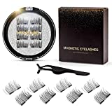 Dual Magnetic lashes, Natural Outer Wing Magnetic Eyelashes, 0.2mm Ultra Thin Magnet, Light & Reusable 3D False Lashes with Applicator