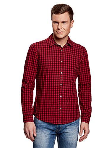 oodji Ultra Uomo Camicia Slim Fit a Quadri, Rosso, 50-52